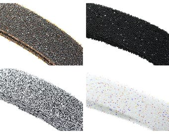 Band Crystal swarovski 20mm and microbeads - black, silver, bronze or transparent