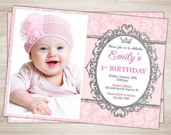 Princess Birthday Invitation. Gold Glitter Birthday Invitation. 1st, 2nd, 3rd Girl's Birthday Invitation. Pink Gold Princess birthday invite
