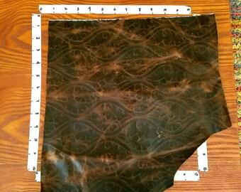 Dark Brown Leather Scrap, Brown Embossed Leather Scrap (1+sq ft) Distressed, Rustic, Antiqued