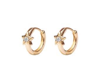 Cz Star huggie hoop earrings - huggie earrings - hoop earrings - Dainty hoops - Tiny hoops - Thin hoops - Minimal earrings - Minimal hoops