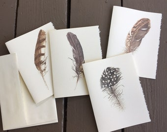 4 Feather Notecards