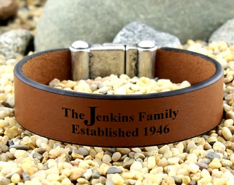 Personalized Family Bracelet, Engraved Leather Bracelet, Anniversary Gift, Husband Gifts, Custom Bracelet, Keepsake Bracelet, Mementos Gifts