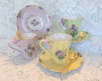 Bradford Editions Collectible Lena Liu's Garden Floral Print Demitasse Cups with Matching Saucers and Spoons