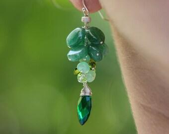 Aventurine Earrings Green Gemstone Earring Green Silver Earring Green Onyx Dangle Earring Wire Wrapped Cluster Earring Emerald Green Cluster