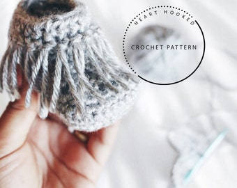 Crochet Moccasin PATTERN // Baby Moccasin Pattern // Crochet Baby Booties PATTERN / 4 sizing options available newborn to 12  months