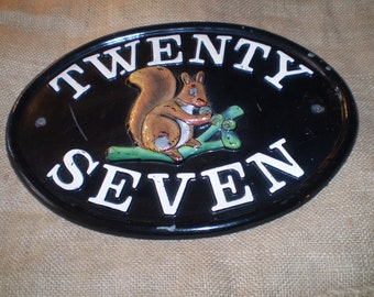 Vintage English cast iron house number sign,Twenty Seven,Very nice Vintage condition,Squirrel Motive