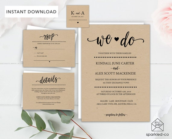 Cheap Country Wedding Invitations: Rustic Wedding Invitation Template Wedding By Sparkledco
