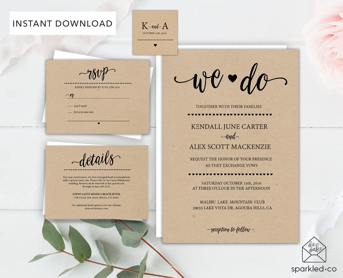 Downloadable Wedding Invitation Templates: Rustic Wedding Invitation Template Wedding By Sparkledco