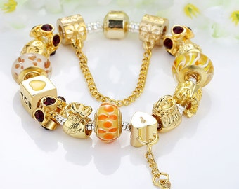 Pandora style European charm bracelet Gold plated with the key charms beads theme Love Charm ''PANDORA STYLE CHARMS''