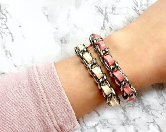 Coco Leather Bracelet - Stainless Steel, Curb Chain