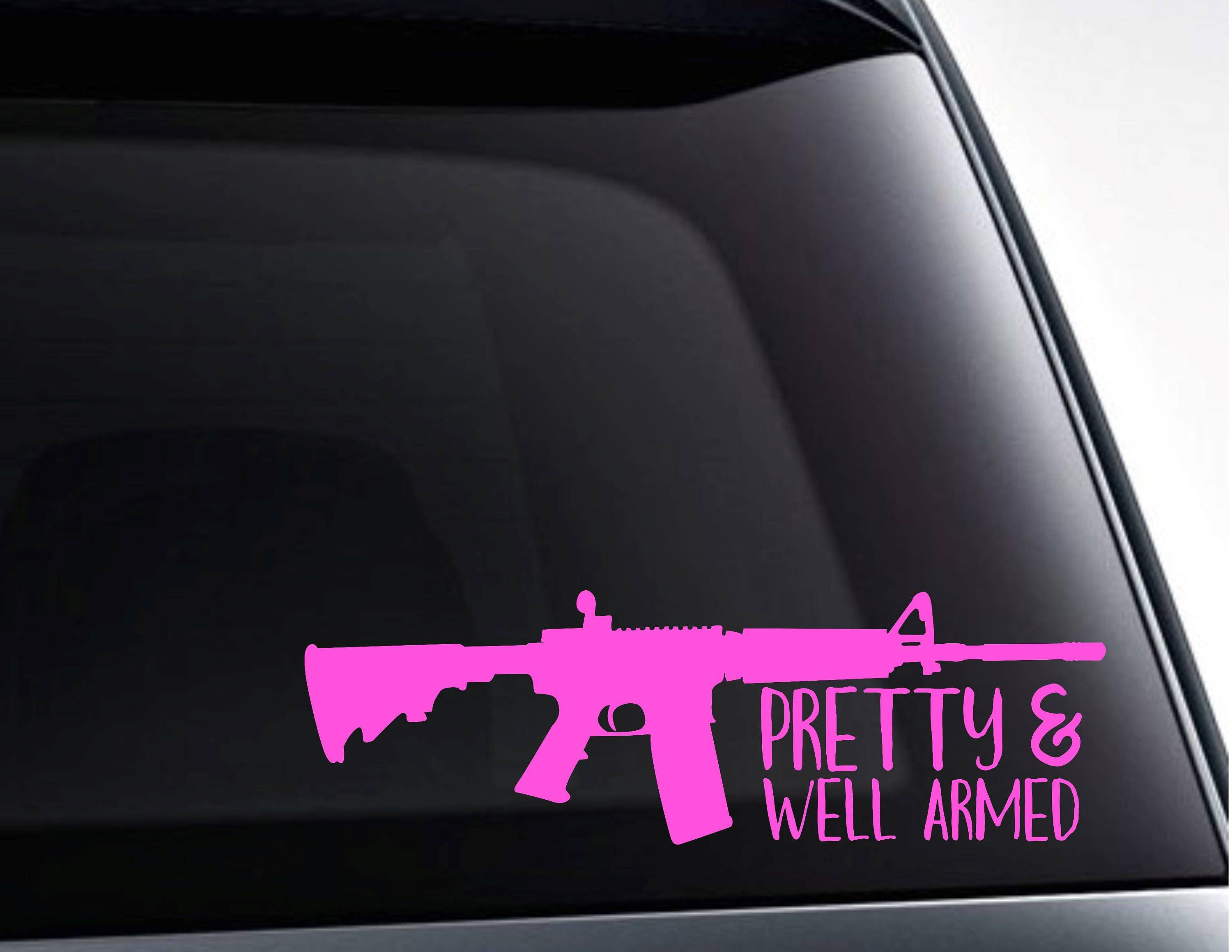 Pretty And Well Armed With Rifle Silhouette Vinyl Decal - Country girl custom vinyl decals for trucks