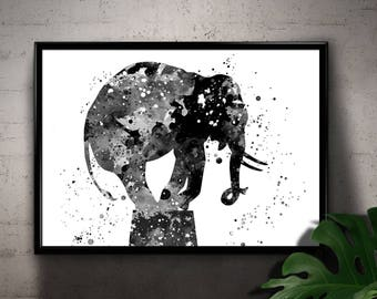 Circus Elephant, Black and White Animal Watercolor Room Decor, Printable Wall Art, gift, instant Download (05)