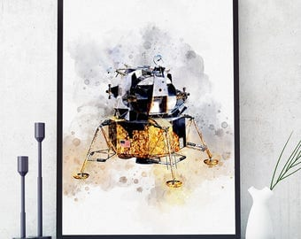 Apollo Lunar Module Print, NASA Poster, Space Age Poster, Watercolour Kids Room Decor, Nursery Wall Art Prints, Nasa Glicee (N305)
