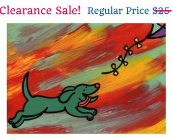 Chasing Dog - Multicolored Decor - Chasing Puppy - Cheerful Wall Art - Happy Pup - Funny Nursery Decor - Playroom art - Playroom Artwork