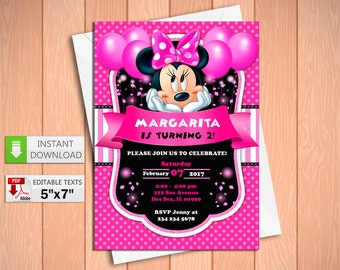 Printable invitation Minnie Mouse pink party in PDF with Editable Texts, Minnie Mouse Pink party Invitation, edit and print yourself.
