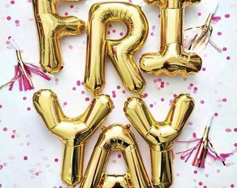 "FRIYAY Letter Balloons | 16"" Gold Letter Balloons 