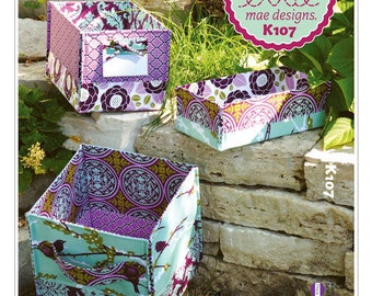 Sewing Pattern for Stash Baskets in three Sizes, Kwik Sew # 0107, Storage Basket, Home Organizer cloth Baskets, Storage Boxes to Customize