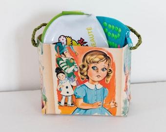Sac rectangulaire en papier vernis pour enfant enfant, soutache tressée, illustration de livre pour enfant, vintage, fait main