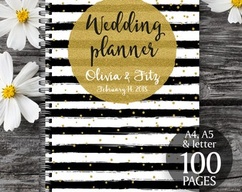 Gold wedding planner, Printable wedding planner, Wedding printable binder, Wedding book, Printable wedding organizer, To do wedding list