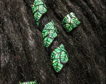 Large Leaf Designed Dreadlock Beads