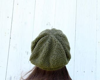 Knit Slouchy Seed Stitch Hat - Winter Slouch Hat - Green Slouch Hat - Knit Green Slouchy Beanie - Textured Knit Hat - Moss Green Hat
