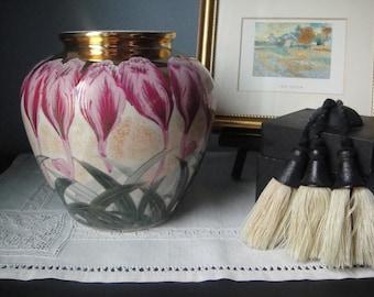 Beautiful vintage hand painted purple crocus urn