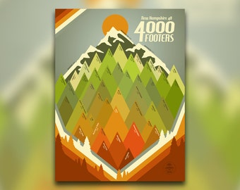 New Hampshire 48 4000 Footers - New England Print - Appalachian Mountain Club, NH - Hiking Decor Poster - Wall Art Graphic Design