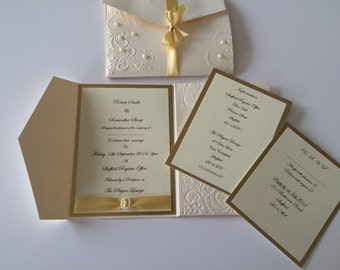 Handmade pocket folder wedding invitations