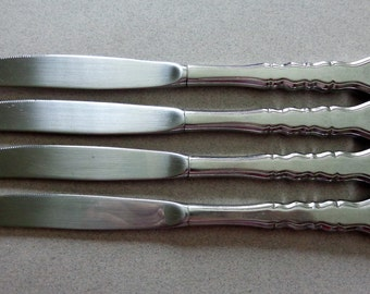 Lyon Americana Vintage Stainless 4 Dinner Knives Knife IS International Silver