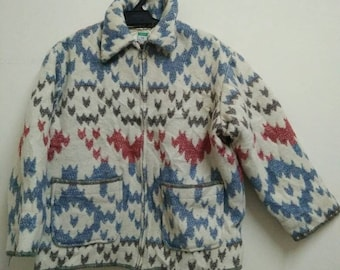 Rare Vintage UNITED COLOUR Of BENETTON Double Patch Pocket Aztec Tribal Style Size L Large Made in Italy