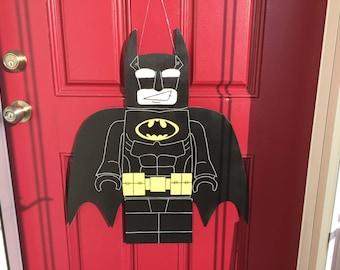 Batman, mini figure, Batman door hanger, boys room decor, comic book decor