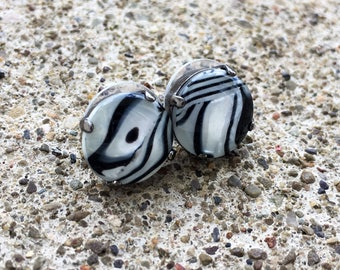 ZEBRA 12mm stud earrings shell cabochon in a hematite setting - black and white animal print stud earrings