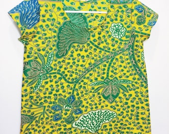 African Wax Print Tee // Yellow Blue and Green Floral Printed Blouse