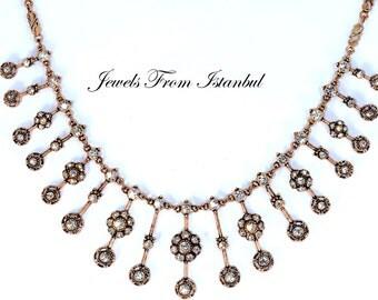 Turkish Handmade Ottoman Style Hurrem Sultan's Necklace With Rhinestones