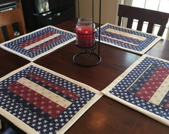 Set of 4 - Americana Patriotic Placemats