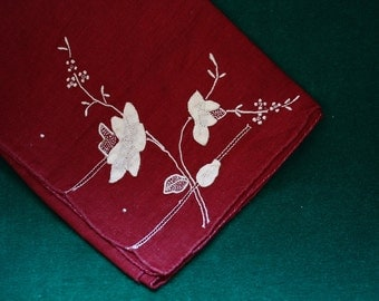 Maroon and White Appliqued Vintage Cotton Handkerchief 1950s