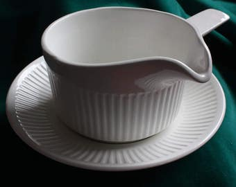 White Johnson Brothers Ironstone Mid Century Gravy/Sauce Boat and Saucer, Made in England