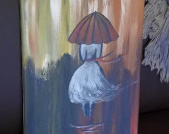 Girl with umbrella acrylic painting