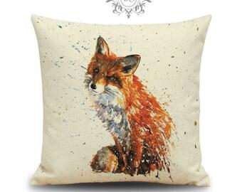 "Fox Cushion Paint Effect Shabby Chic cushion Cover - 18"" by 18"""