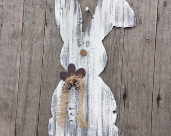 19 inch tall white tin Easter Bunny with burlap ribbon, rustic bunny, rustic Easter decor, tin bunny