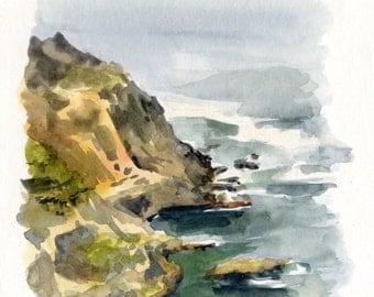6x6 Original Watercolor Painting - Big Sur