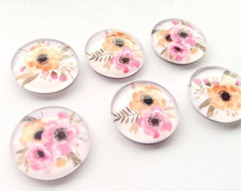 Beautiful Pink and Orange Flower Bouquet Glass Magnets - Floral Bouquets - Magnet Gift Sets - Baby Shower Wedding Favours - FREE SHIPPING AU