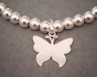 Sterling Silver Big Bead Butterfly Charm Bracelet