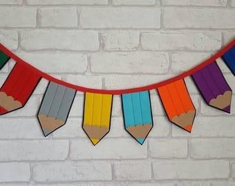 Pencil Bunting for Children~Playroom Decoration~Nursery Decor~Classroom Decoration~School Bunting~Rainbow Pencil Banner~Stationary Garland