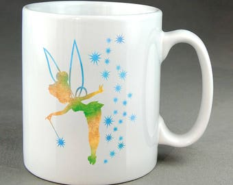 Tinkerbell Watercolour Disney Mug - 11oz Size - Cool - Stylish - Coffee Mug - Tea Cup - Gift - Present