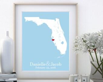 Florida Wedding Gifts Florida Gifts Florida Map Florida Keys Map Florida Home Wedding Gift Couple Anniversary Gift Couple Birthday Gift Art