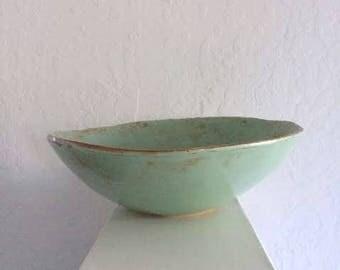 serving bowl - pistachio  - handmade  - ceramic - pottery - 10% proceeds benefit humane society