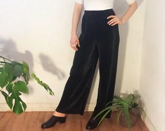 Vintage 80's | Black pleated pants / accordion pleats pants / permanent pleats palazzo pants | Size small/medium