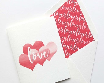 Valentines Day Cards - Love Is Love Card - Single Card or Set of Cards - Red Love and Hearts
