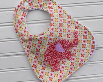 Bib - Baby Bib - Elephant Applique Flannel and Terry Bib - Bib - Shower Gift for Baby Girl